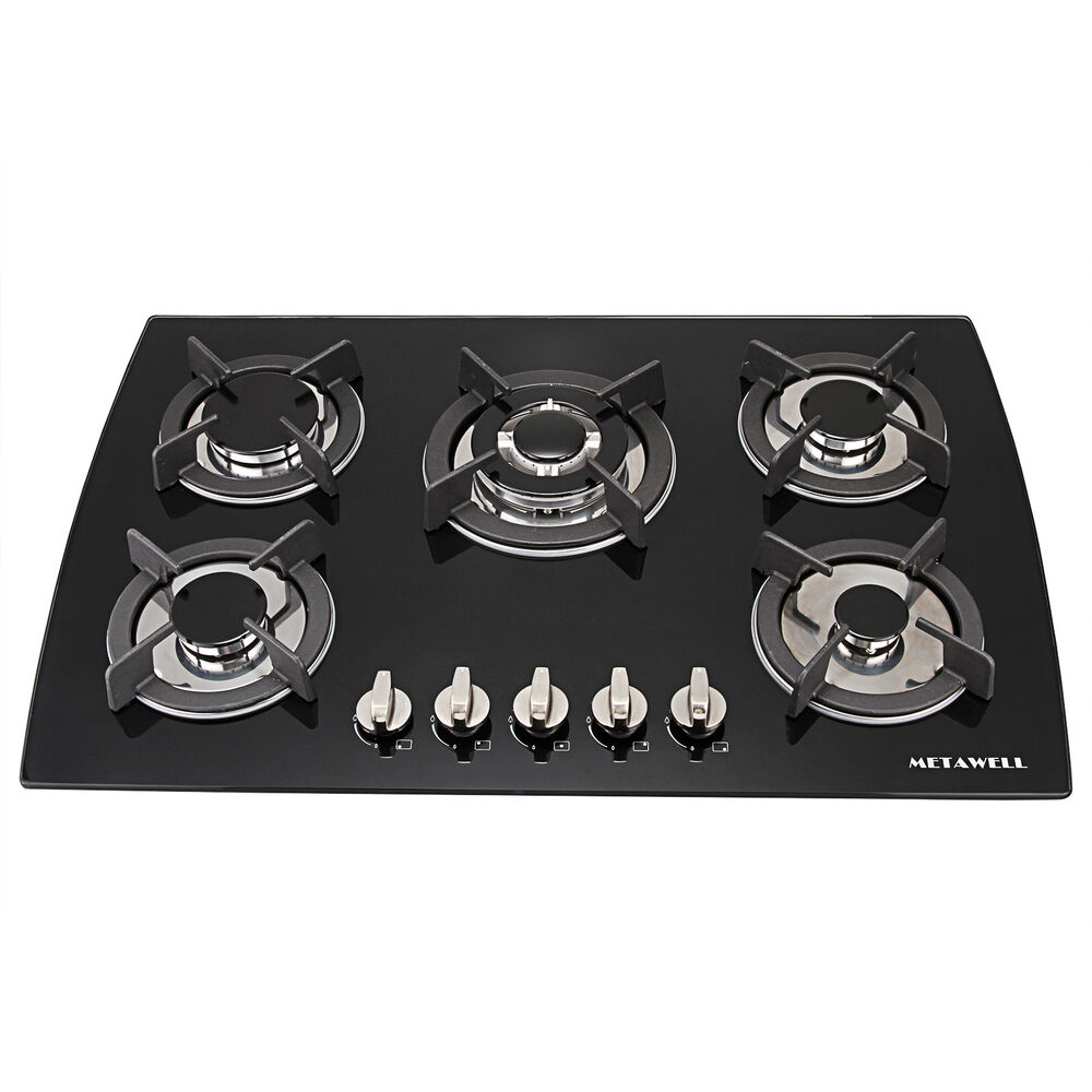 5 Burner Gas Cooktops: 30inch Built-in 5 Burner Gas Range Black Toughened Glass