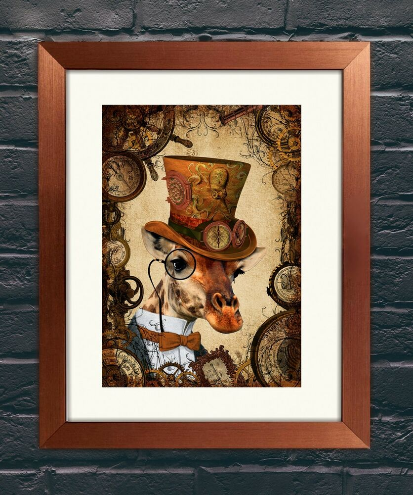 Steampunk dandy giraffe a4 art print wall art home decor for Household decorative items