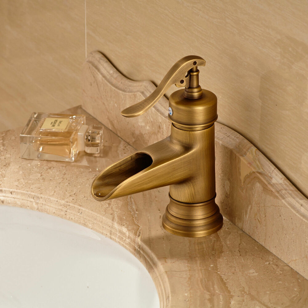 Antique brass single handle hole basin sink faucet bath deck mounted mixer tap ebay Antique brass faucet bathroom