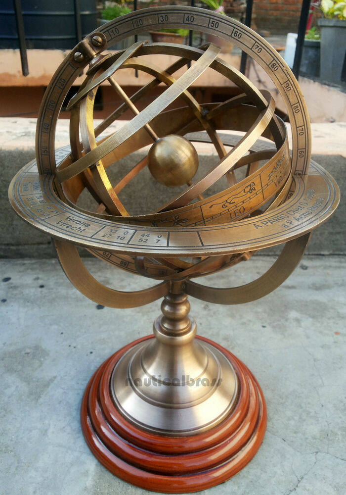 Solid Brass Engraved Tabletop Armillary Nautical Sphere