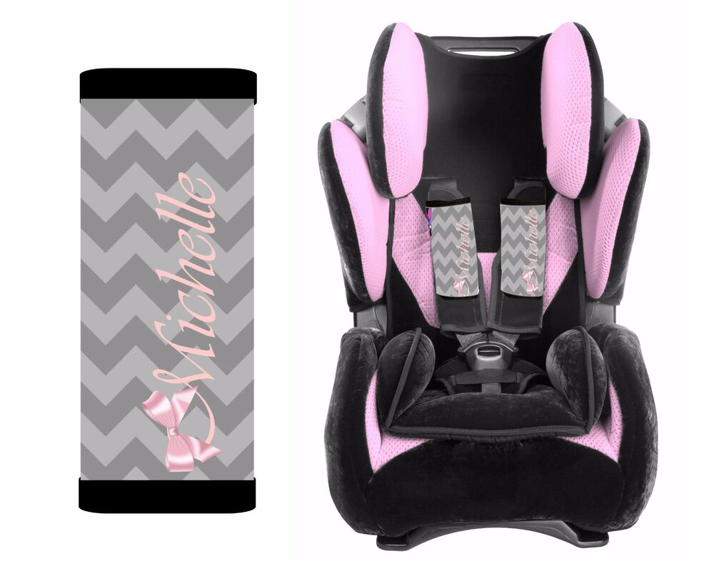 personalized baby toddler car seat strap covers gray chevron pink bow ebay. Black Bedroom Furniture Sets. Home Design Ideas