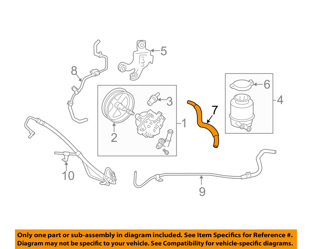 2007 Toyota Camry Se Engine Diagram Wiring Library Electrical Oem 07 09 Power Steering Reservoir Tank Hose 4434806270 Ebay