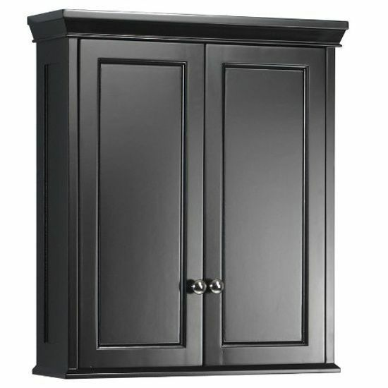 wall storage cabinet hanging medicine shelf bath kitchen black