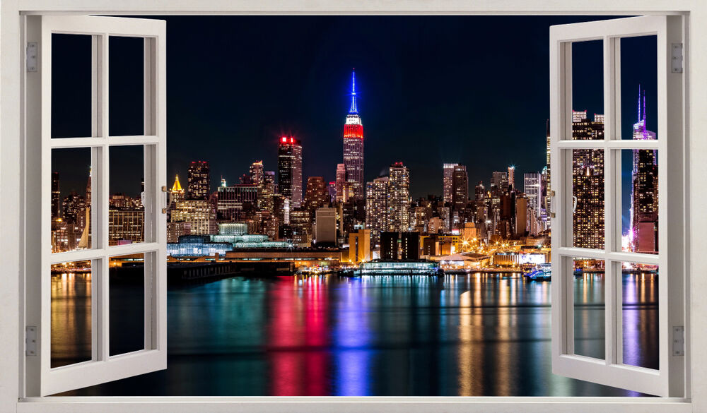 new york city night view 3d window wall sticker art decal mural ebay