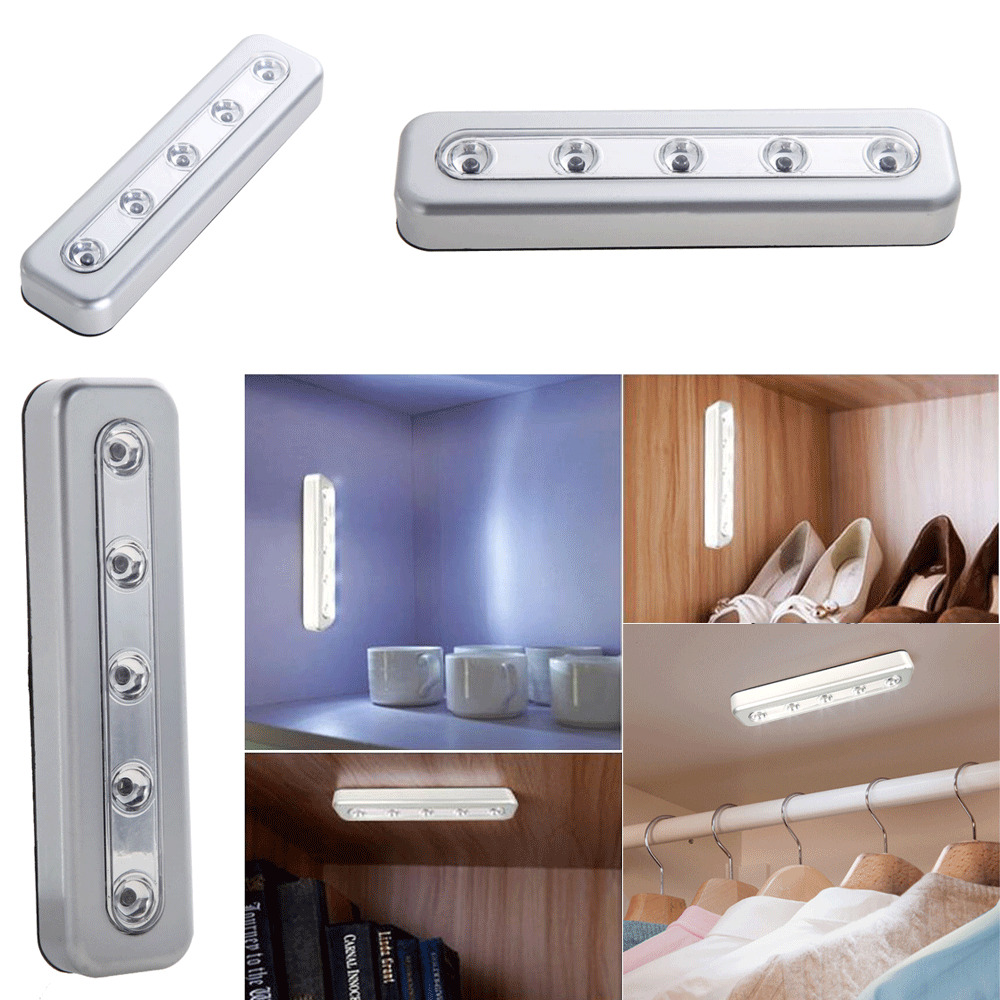 5 LED Touch Night Light Under Cabinet Closet Home Kitchen