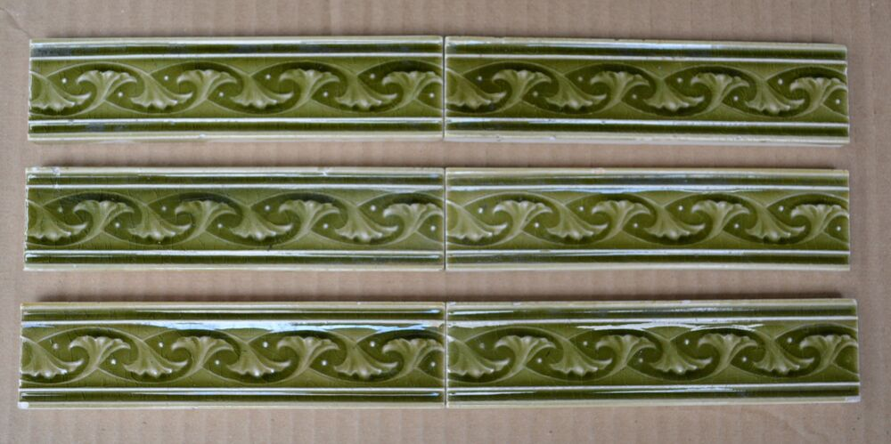 England 6 Antique Art Nouveau Majolica Border Tiles