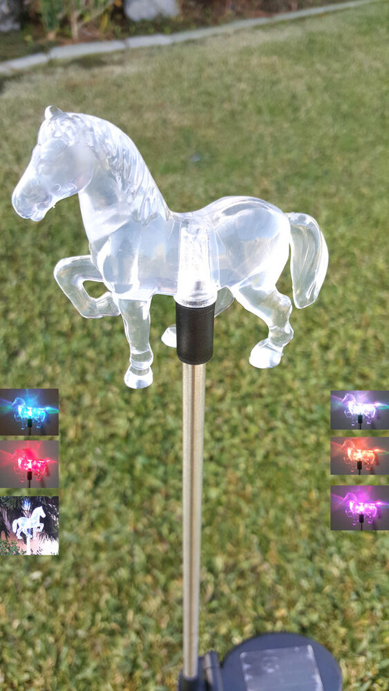 Set of garden decoration clear acrylic horse solar stick