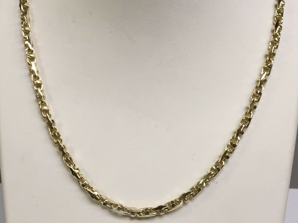18k solid yellow gold anchor mariner link chain necklace 3. Black Bedroom Furniture Sets. Home Design Ideas