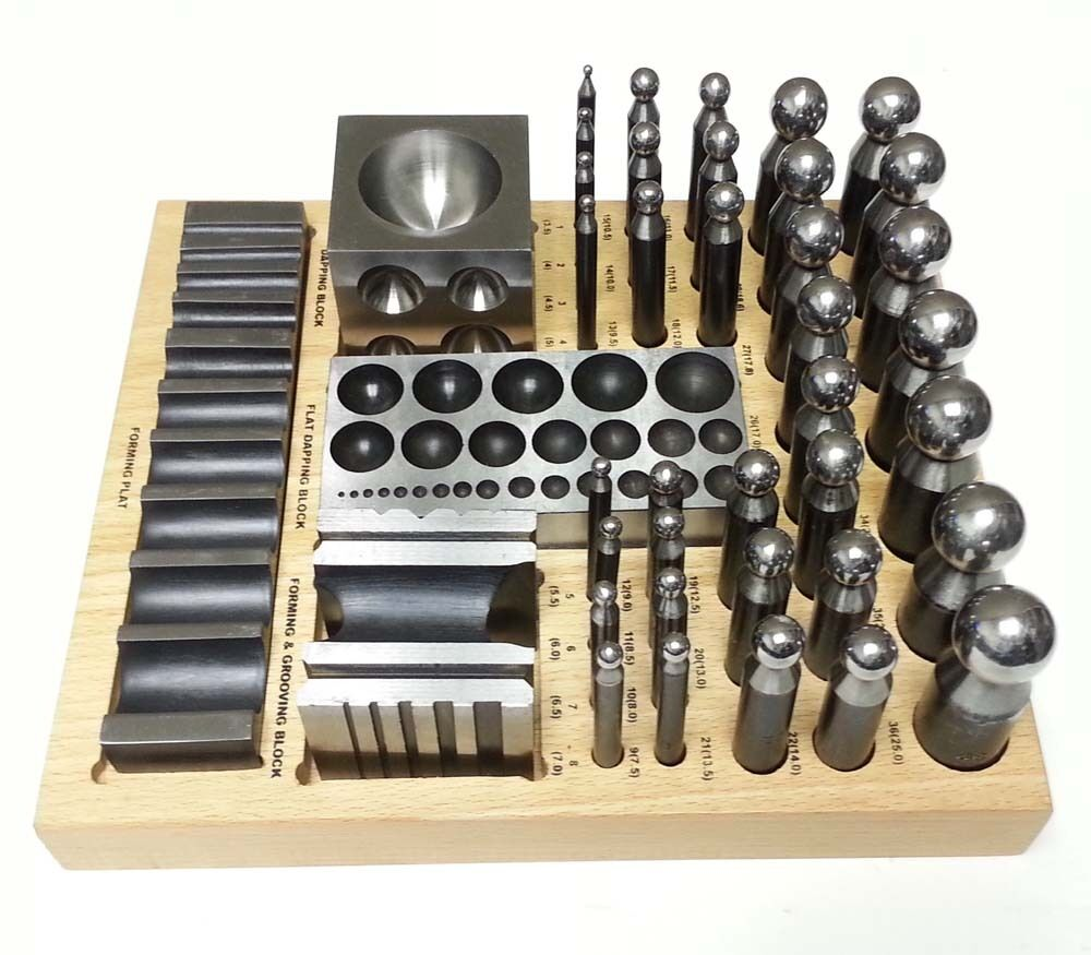 40 pc doming dapping set punch block jumbo jewelry forming