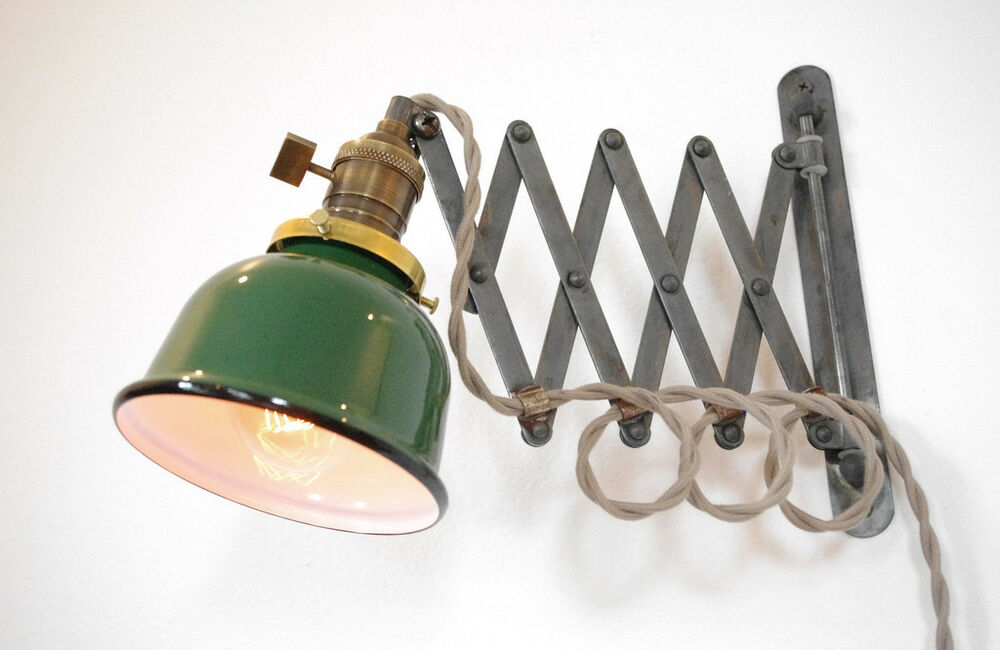 Industrial Scissor Wall Lamp Antiqued With Patina Amp Green