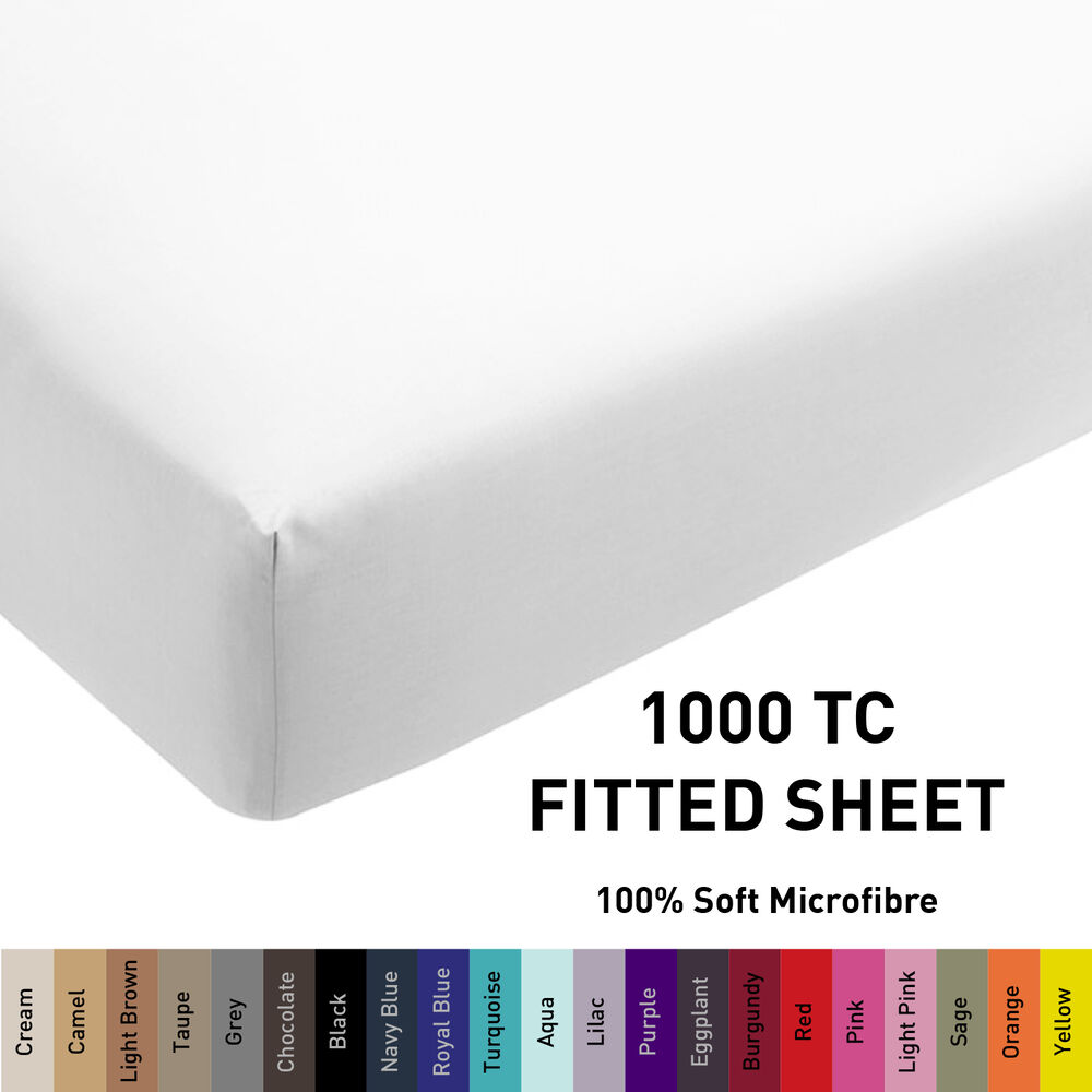1000tc microfiber 1pc fitted sheet only single double queen king super size ebay. Black Bedroom Furniture Sets. Home Design Ideas