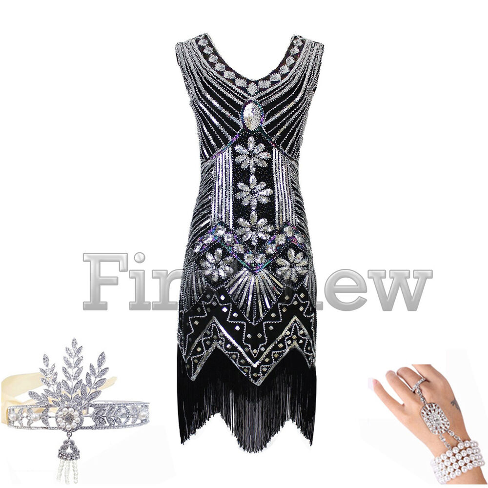 1920s Dress Great Gatsby Vintage Roaring 20s Fringe ...