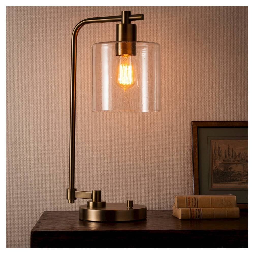 Hudson Industrial Table Lamp - Antique Brass - Threshold ...