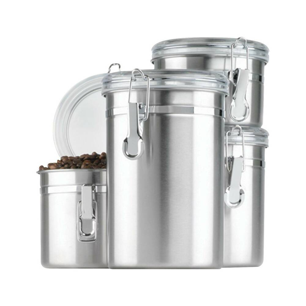 Stainless Steel 4pc Canister Set With Lid Silver