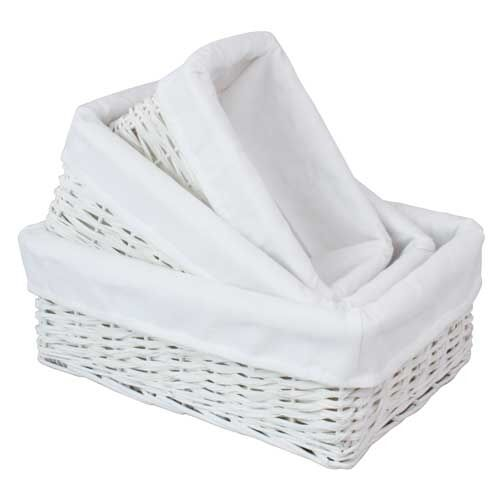 Willow Wicker Storage Basket With Liner For Home: Fabric Lined White Split Willow Wicker Home, Office