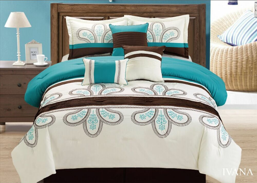 7 Pc Comforter Set Brown Blue Cotton Touch Oversized
