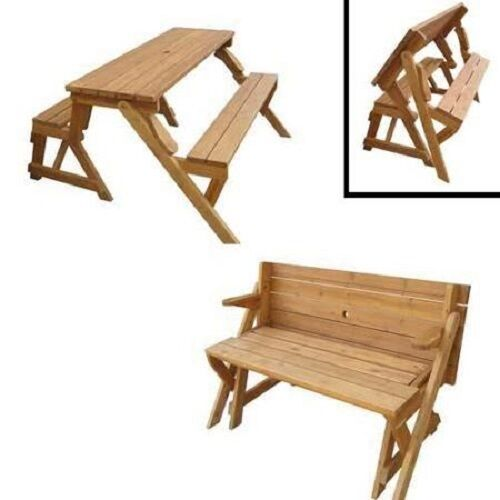 Picnic table bench garden wood transforming interchangeable outdoor yard park ebay Picnic table that turns into a bench