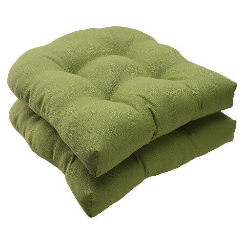 Outdoor 2 Piece Wicker Seat Cushion Set Green Forsyth Solid EBay
