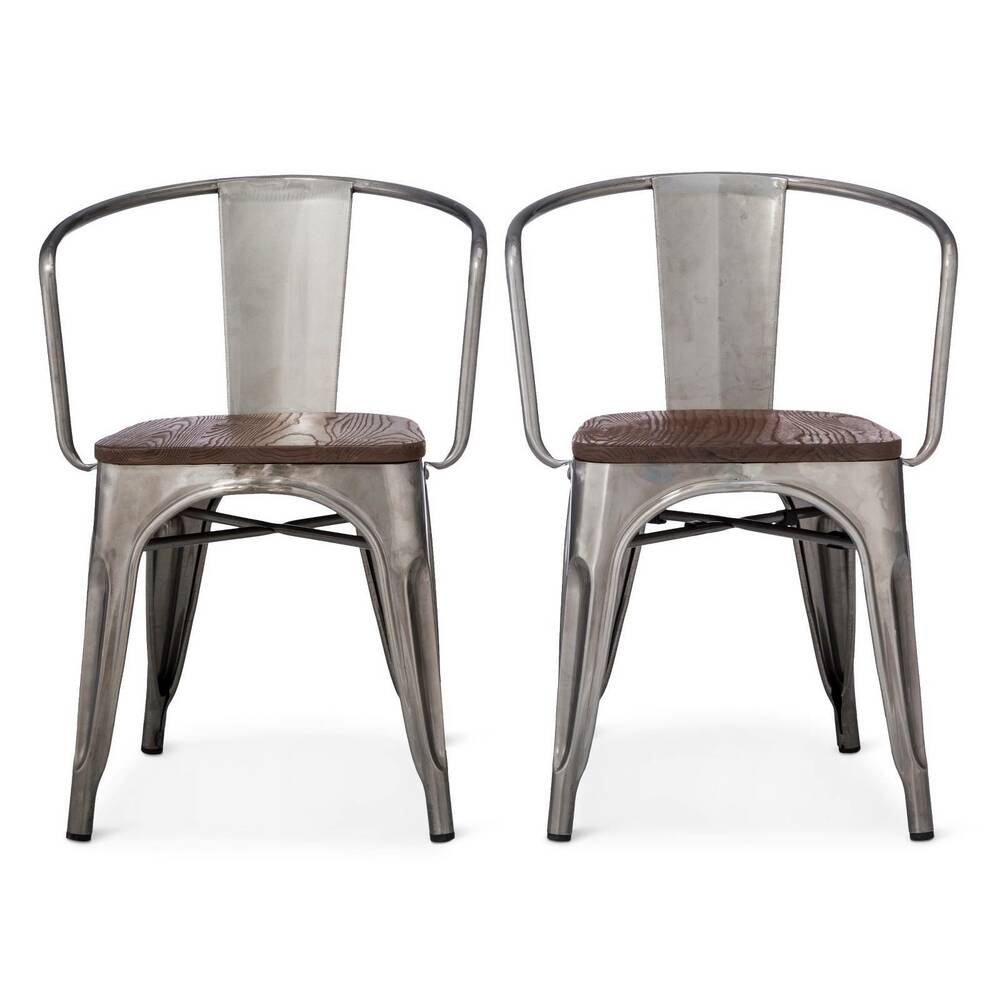 Carlisle Metal Dining Chair Distressed Metal Set Of 2