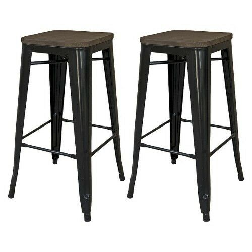 Hampden Industrial Wood Top 24 Quot Counter Stool Metal