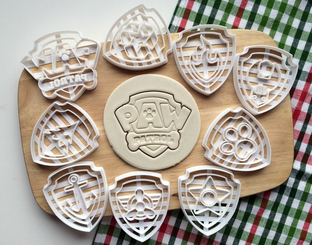 Set of 9 Paw Patrol Badges Cookie Cutter Logo Cupcake ...