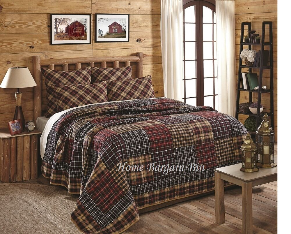 Austin Twin Quilt Patchwork Madras Plaid Red Black Tan