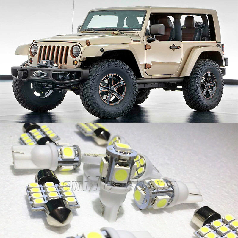 13×White LED Interior Lights Package Kit For Jeep Wrangler