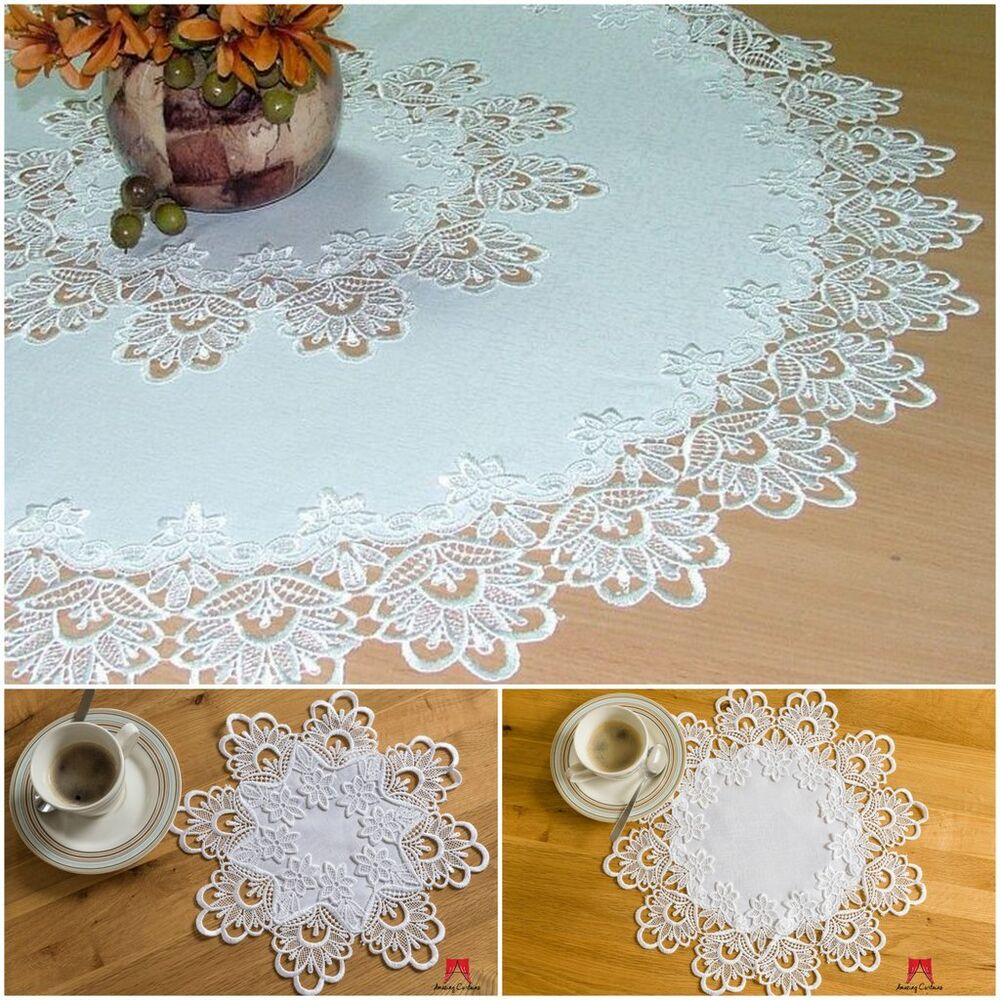 High quality round tablecloths doilies lace table home for Home decorations on ebay