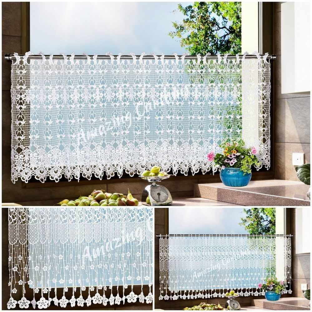 """Top Quality White Cafe Net Curtains 12"""" & 24"""" Sold By The"""