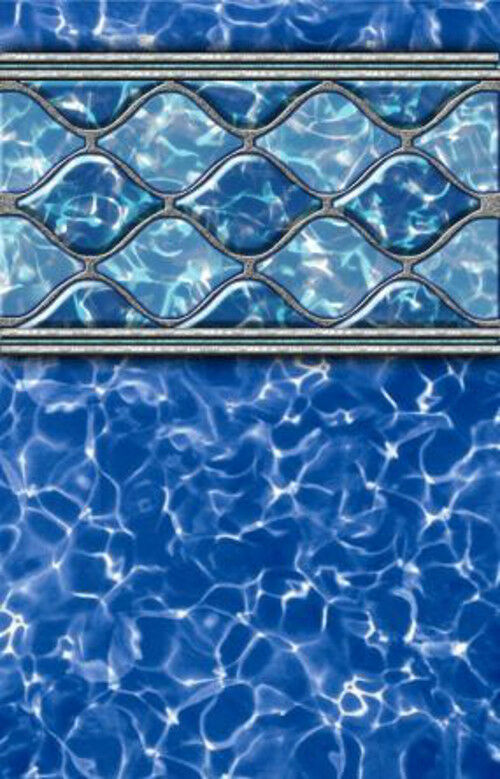 18 39 x52 round beaded diamond wave above ground swimming pool liner 25 gauge ebay for Above ground swimming pool liners