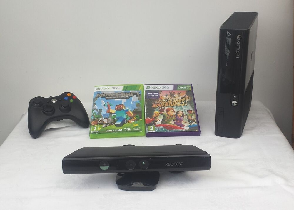 Microsoft xbox 360 e with kinect 4 gb console minecraft and kinect adventures 885370236262 ebay - Xbox 360 console with kinect ...