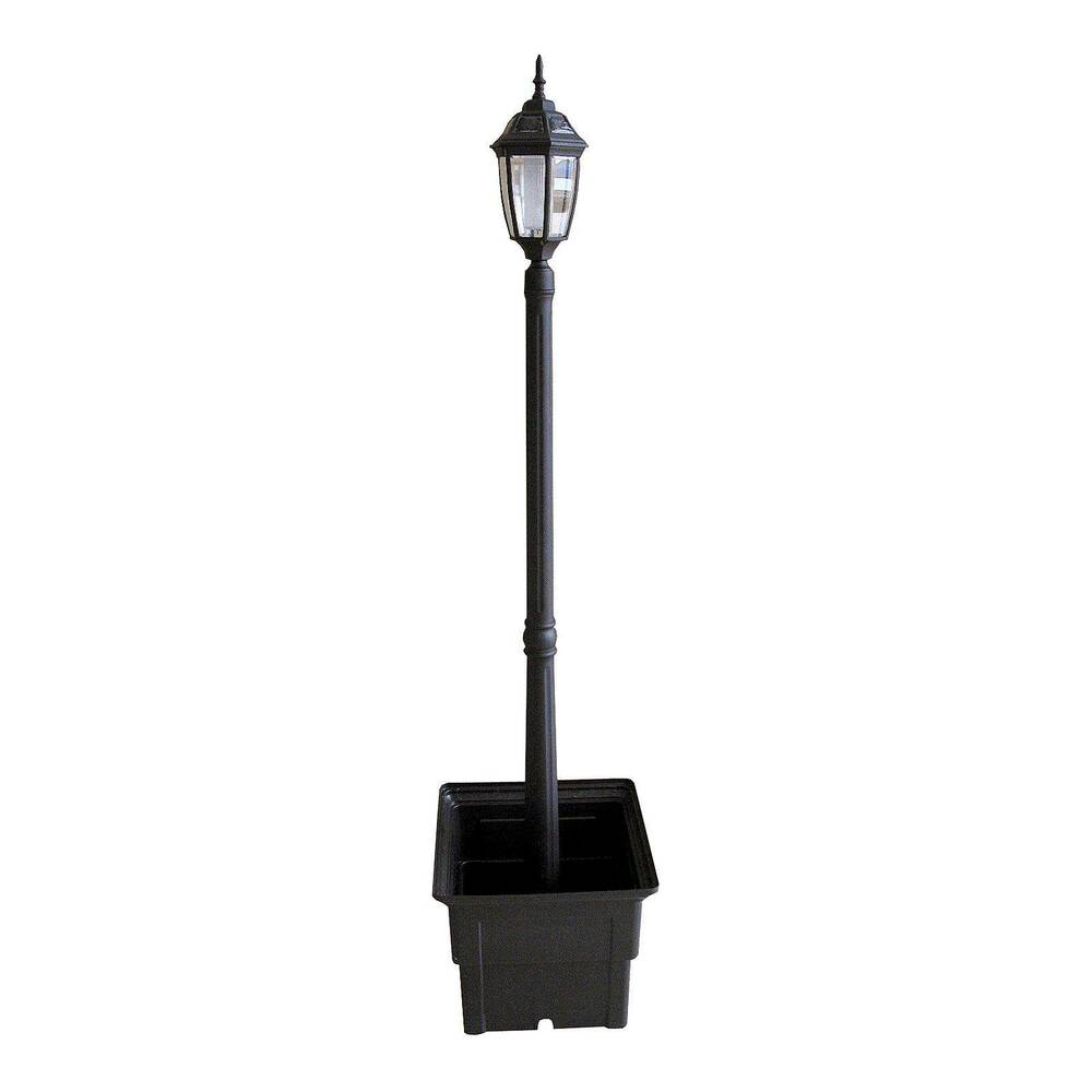 solar lamp post with square planter ebay. Black Bedroom Furniture Sets. Home Design Ideas
