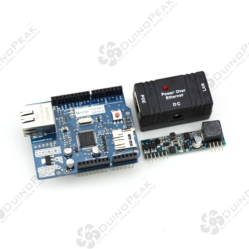 Eduino ethernet shield r kit for arduino support poe with
