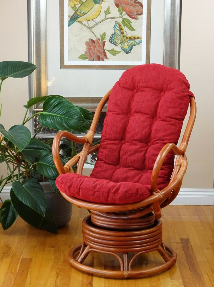 Java Handmade Design Rattan Wicker Swivel Rocking Chair Red Thick ...