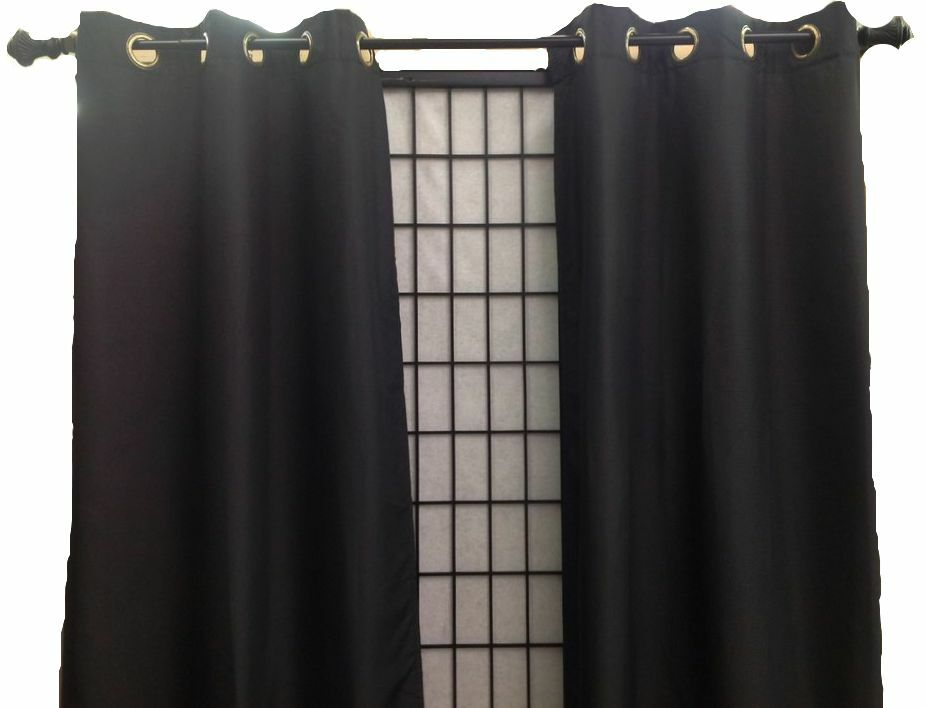 Blackout Thermal Grommet Solid Window Curtain Microfiber Panel Soft Night Black Ebay