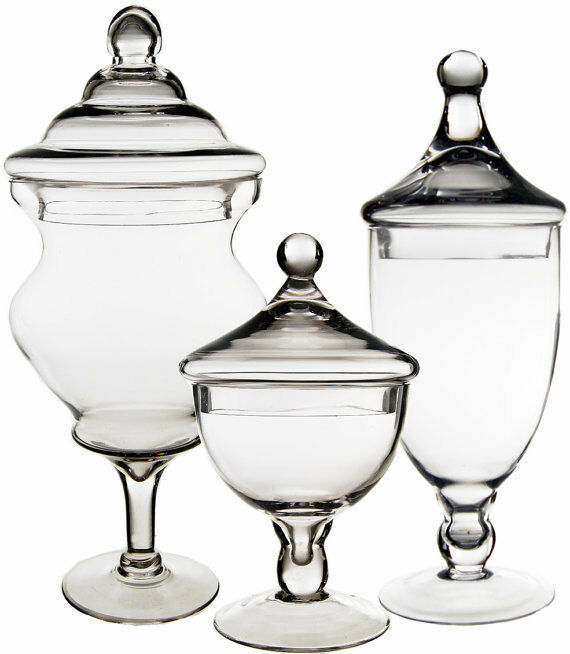 apothecary glass candy buffet jar with lid set of 3 wedding floral decoration ebay. Black Bedroom Furniture Sets. Home Design Ideas