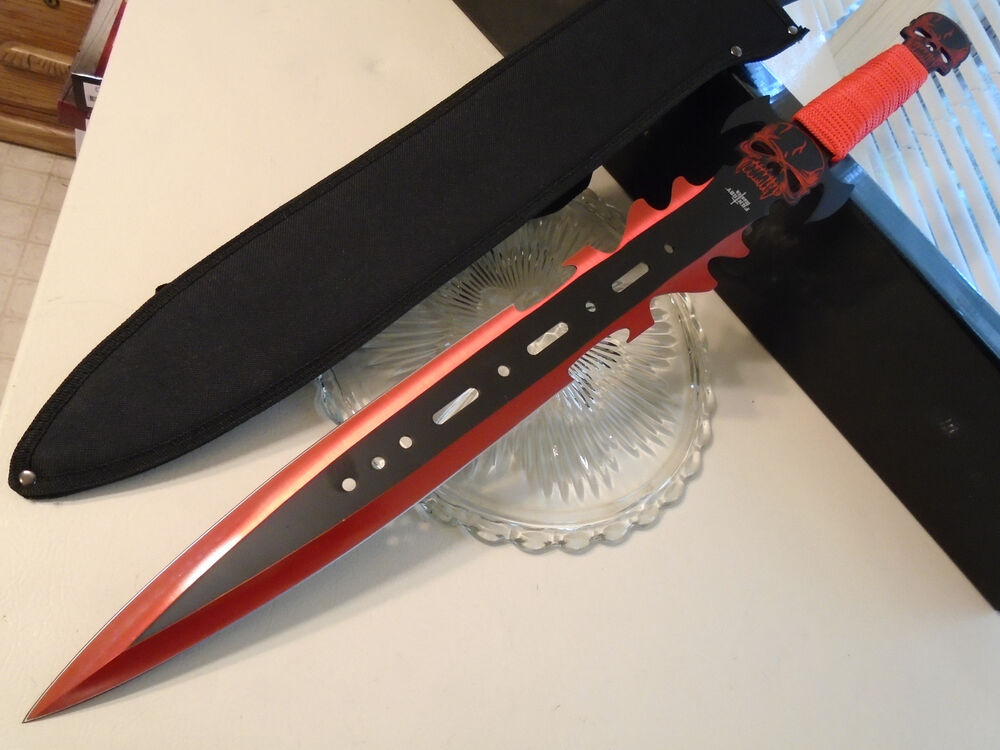 Fantasy Master Red Titanium Skull Sword Knife Dual Edge
