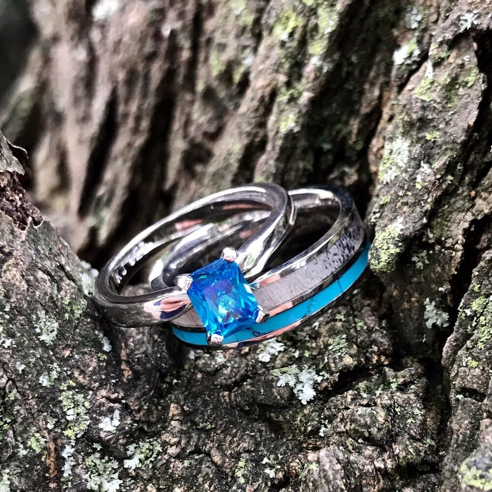 His And Hers Watch Sets >> 2pc Deer Antler Ring Turquoise and Sapphire Wedding rings Womens Engagement Ring | eBay