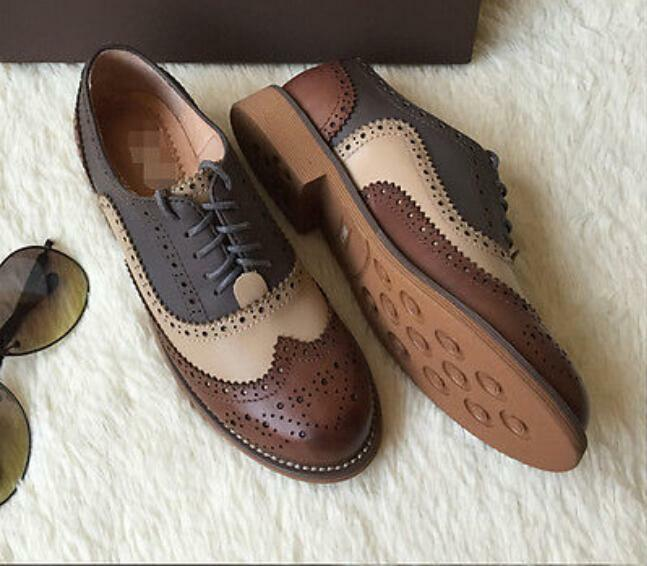 Retro Women Oxfords Flat Low Heels Brogues Wing Tip Lace ...