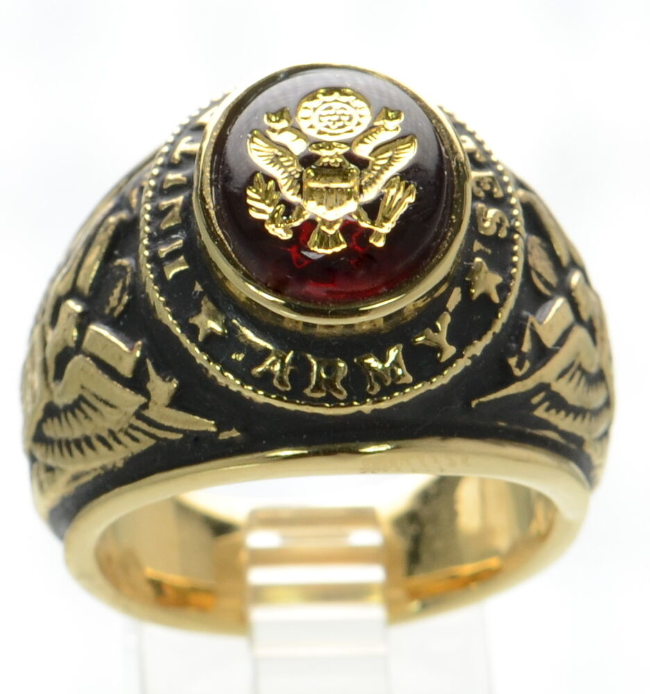 Made In Usa Men S Us Army Gold Plated Military Ring Size