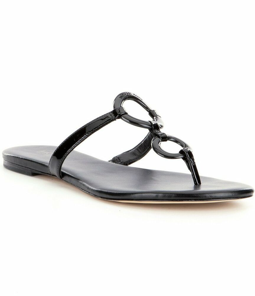 94e7f9352 Details about Michael Kors Claudia Flat Black Thong Leather Sandal Women  sizes 6-10 NEW!!!