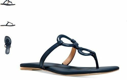 0e55998bc Michael Kors Claudia Flat Navy Thong Leather Sandal Women sizes 6-10 NEW!!!