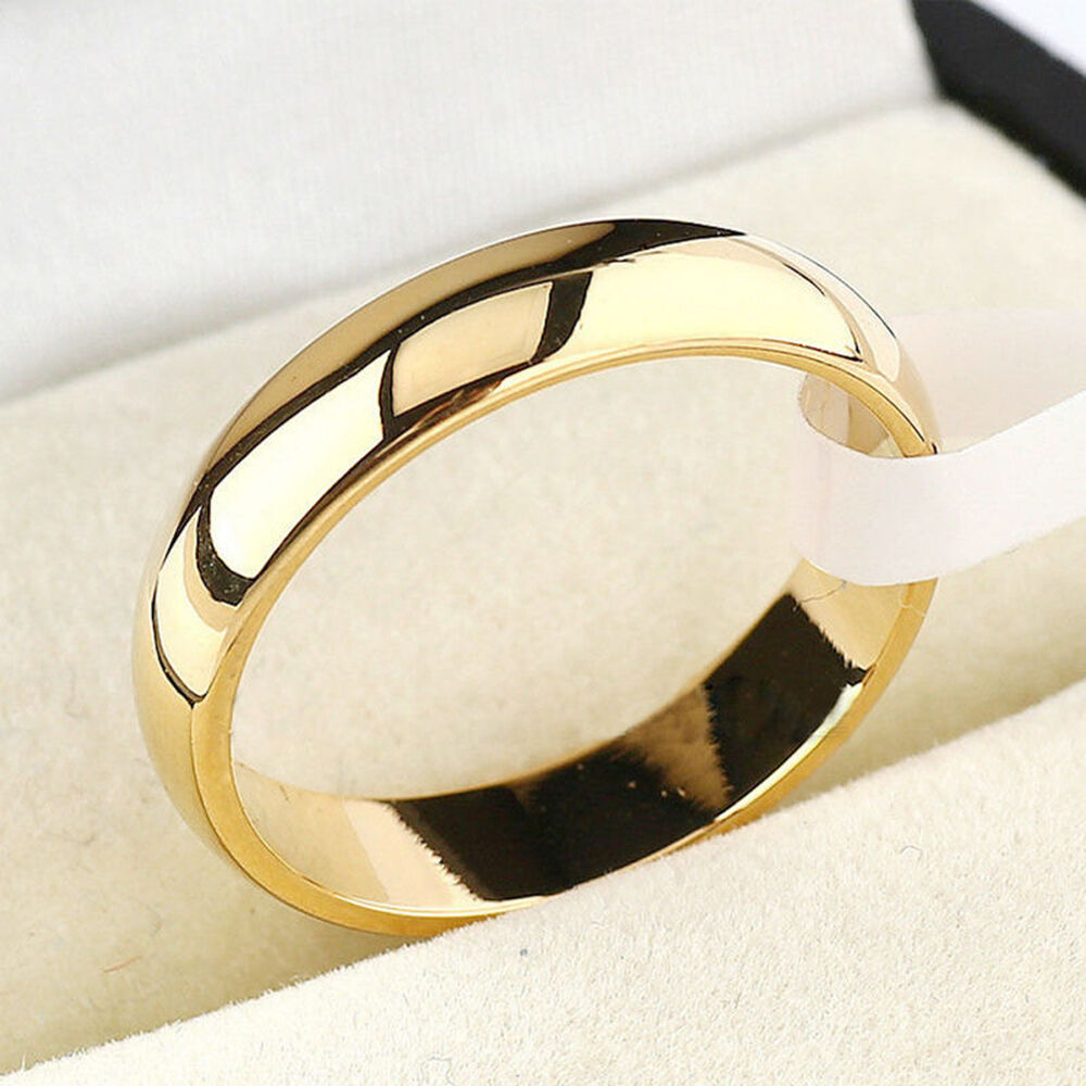 4mm Simple Gold Silver Ring For Men And Women Wedding ...