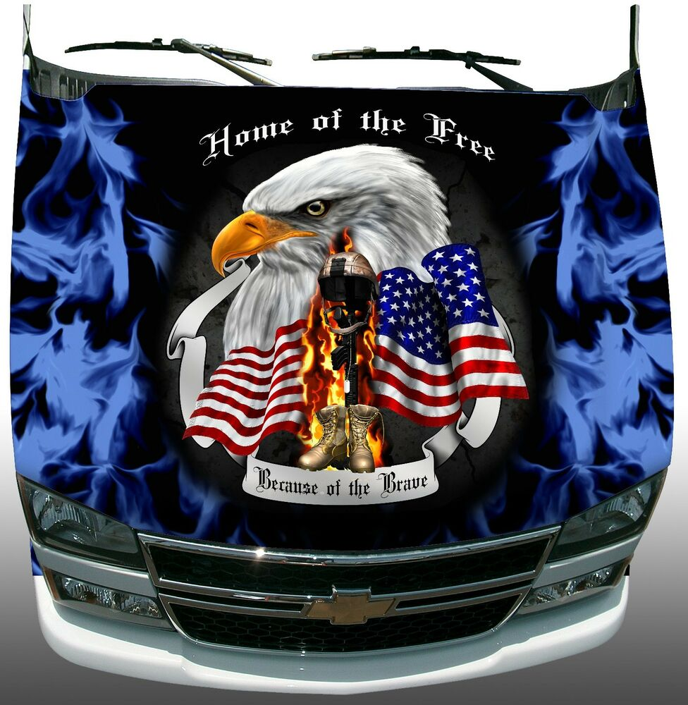 Soldier Freedom Home Of Brave Hood Blue Flame Wrap Sticker