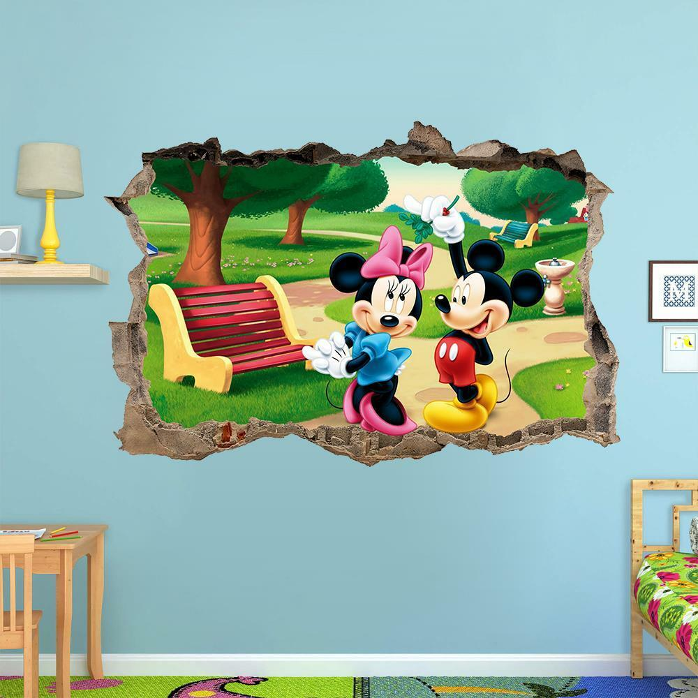 Mickey Mouse And Minnie Mouse 3d Wall Sticker Smashed