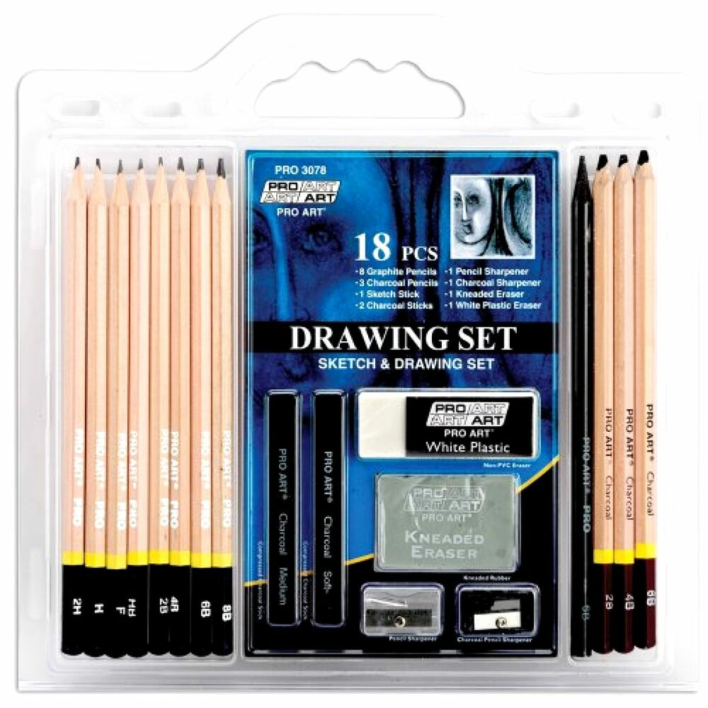 Details about set of 18 piece pro art sketch pencil drawing set great for beginners artist new
