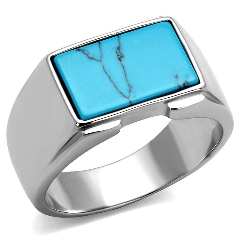 Rectangle Shape Sea Blue Stone Silver Stainless Steel Mens