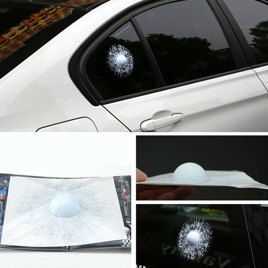 Simulation car body sticker white golf ball hit broken for Broken glass mural