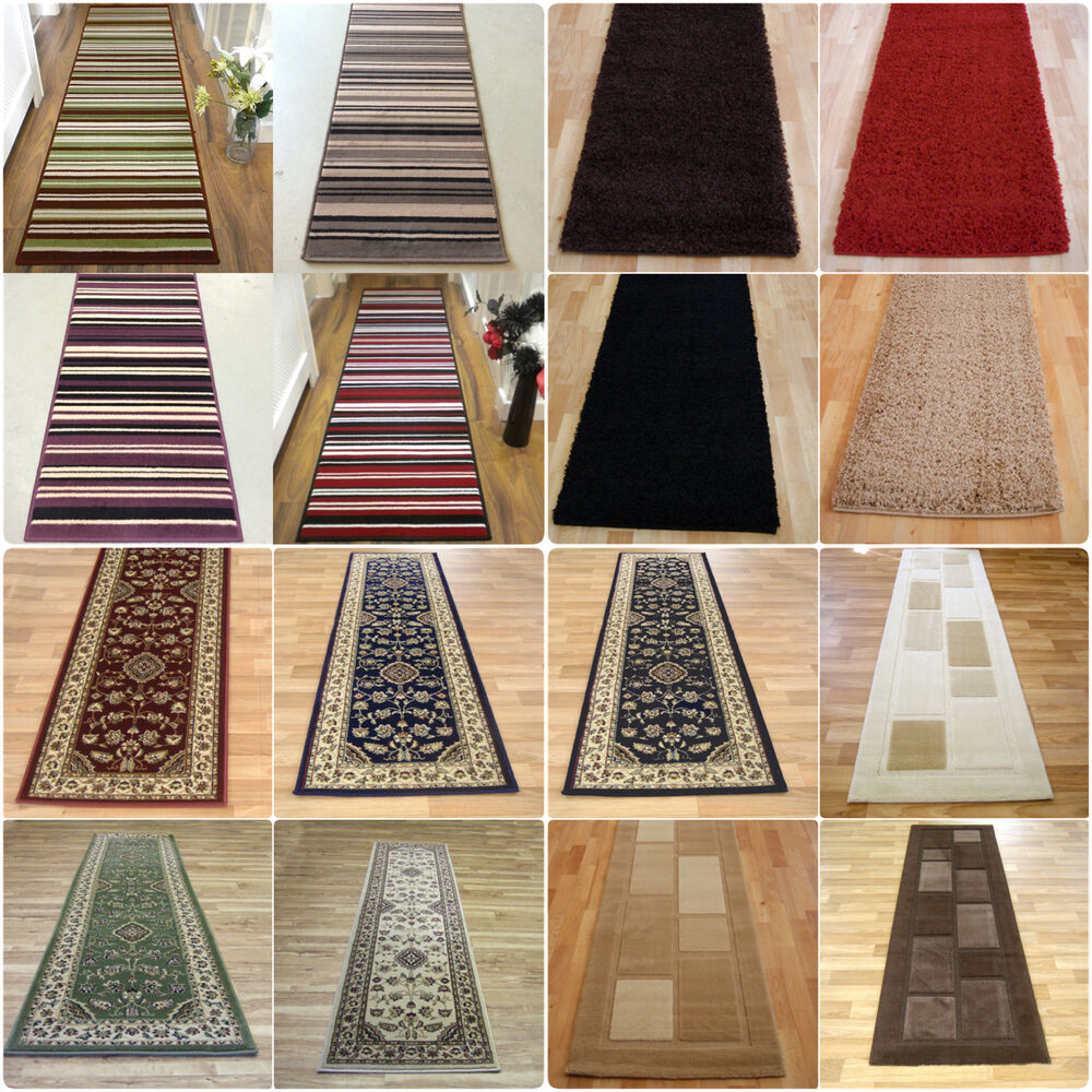 Rug Runner Rug: LONG MODERN TRADITIONAL STRIPED SHAGGY HALLWAY HALL RUNNER