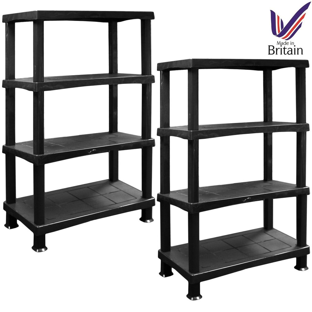 2 x storage shelves unit 4 tier extra large racking. Black Bedroom Furniture Sets. Home Design Ideas